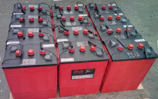 A skid full of Rolls Surrette batteries