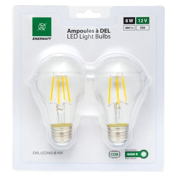 Enerwatt EWL-LEDA60-8-NW 8 Watt LED bulb pack of 2